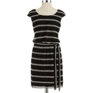 """GUESS Black and Ivory """"Amelia"""" Belted Dress NWT 0"""